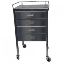 """SS Utility Table 16""""w x 20""""l x 34""""H, with 4 Drawers and 3-Sided Guardrail"""