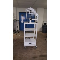 Promedica Video Cart, White, Breakdown Type With 2 Monitor Mounts