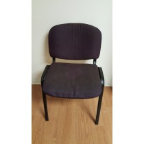 Waiting Room Chair, Black Frame, Purple Upholstery