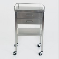 """SS Utility Table 16""""w x 20""""l x 34""""H, with 2 Drawers and 3-Sided Guardrail"""