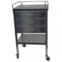"""SS Utility Table 16""""w x 20""""l x 34""""H, with 3 Drawers and 3-Sided Guardrail"""