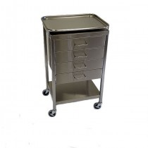 """SS Anesthesia Table 16""""w x 20""""l x 34""""H, with 4 Drawers and removable tray"""