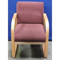 picture of Waiting Room Chair, Light Wood Frame, Burgundy Upholstery